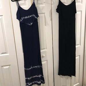 Black and Navy Tie Die Maxi